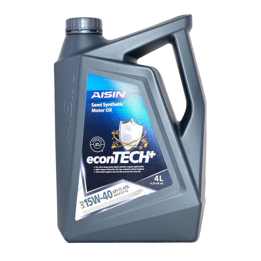 Nhớt động cơ AISIN ECSI1544P 15W-40 CI4 / SL econTECH+ Semi Synthetic 4L