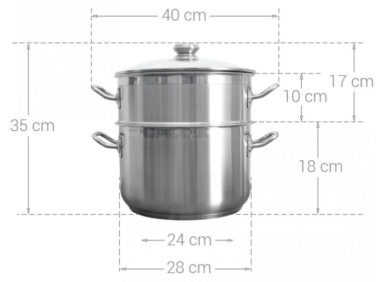 Thông số kỹ thuật Bộ nồi xửng inox 3 đáy 28 cm Fivestar ST28-3DG