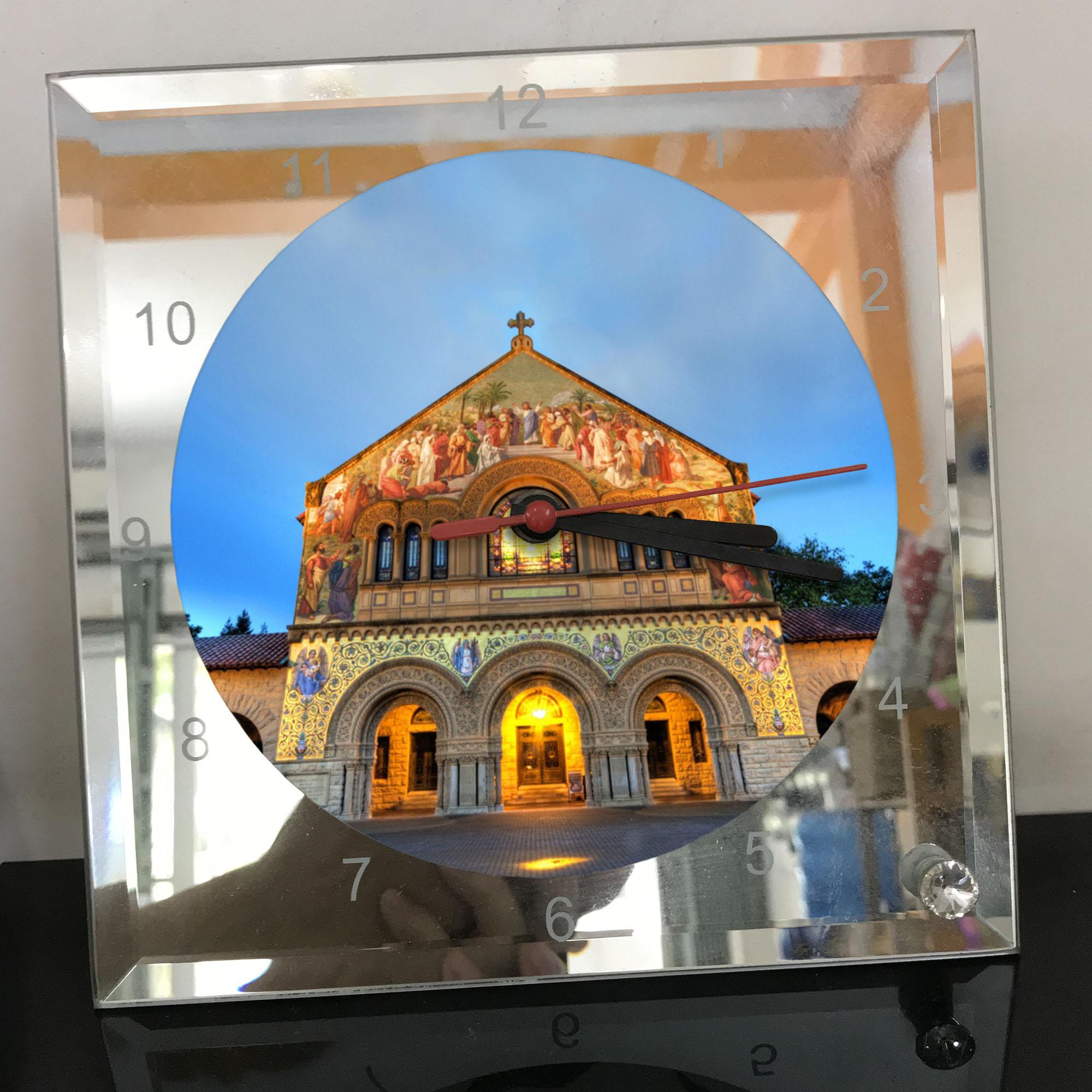Đồng hồ thủy tinh vuông 20x20 in hình Church - nhà thờ (189) . Đồng hồ thủy tinh để bàn trang trí đẹp chủ đề tôn giáo