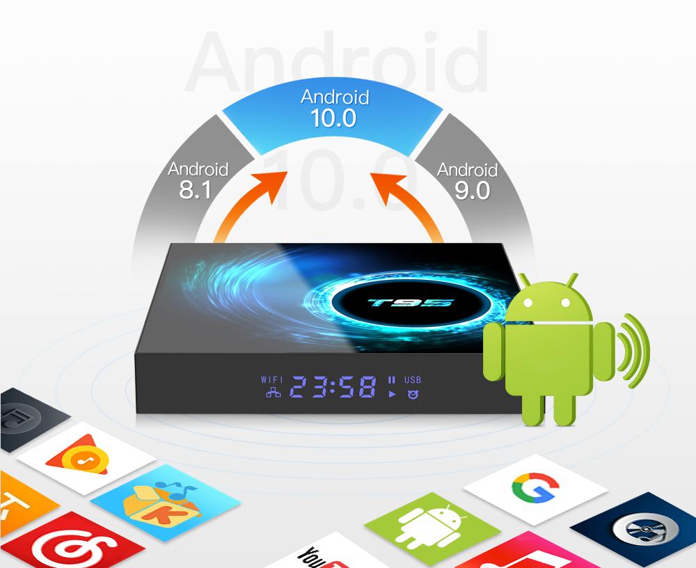Tivi box T95 hệ điều hành Android 10 RAM 4GB  ROM 32GB  cài sẵn bộ ứng dụng giải trí miễn phí