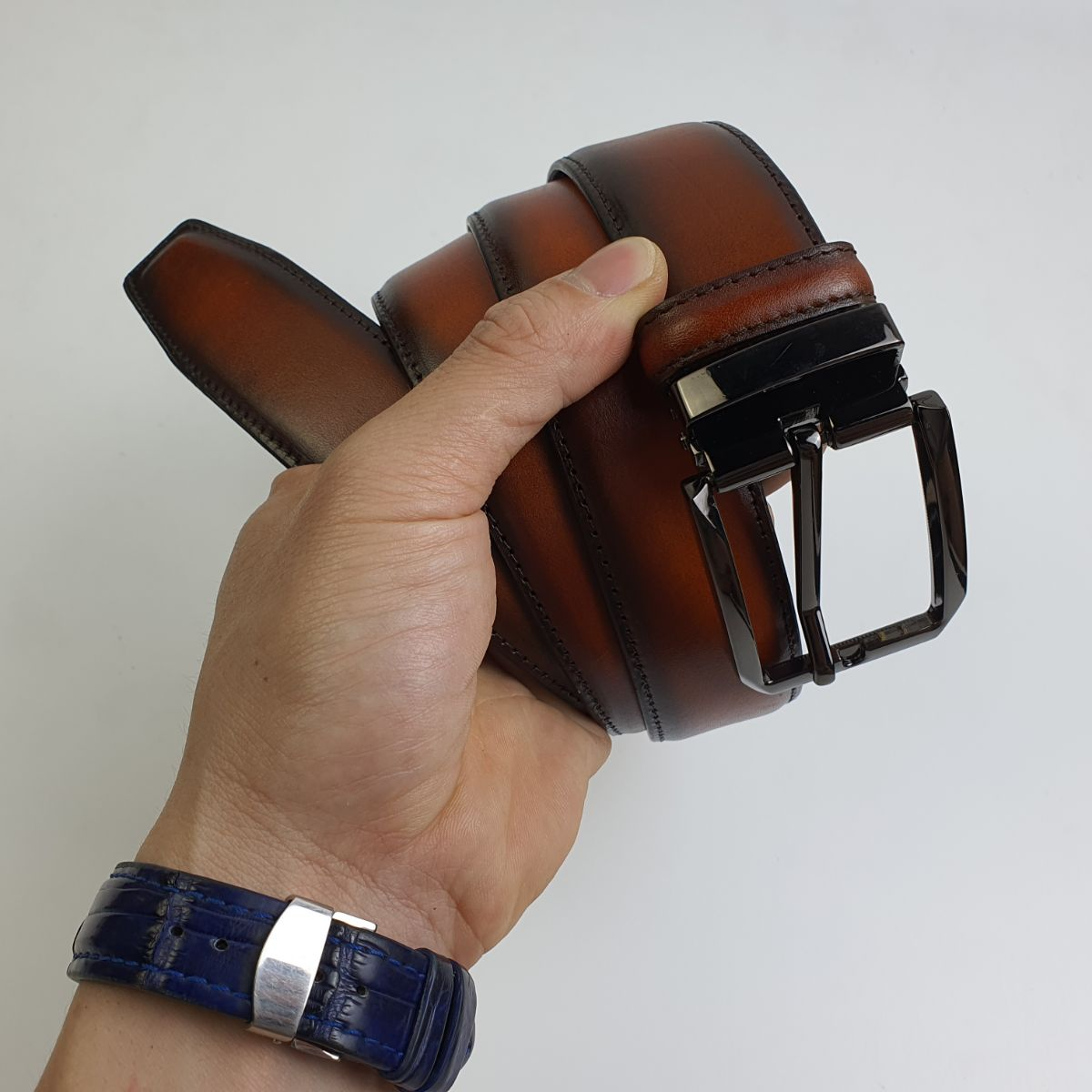 [Da thật] Thắt lưng công sở da bò cháy 3 lớp khóa kim BL111 (Brown) - Size 34mm; 100% da bò thật, BH 3 năm