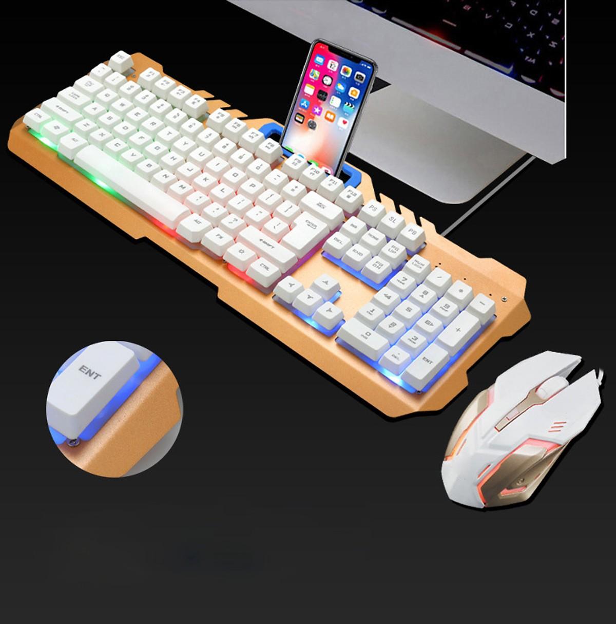 Combo Bộ Bàn Phím và Chuột Ốp Kim Loại Chuyên Game T21 Có Dây, Chuyên Game, Có Khe Để Điện Thoại + Tai Nghe Bluetooth Cảm Ứng Cao Câp)