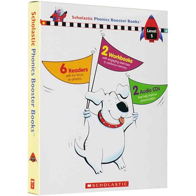Scholastic Phonics Booster Books : Box Set Level 5 (Include 6 Books, 2 Workbooks and 2 Audio CDs)