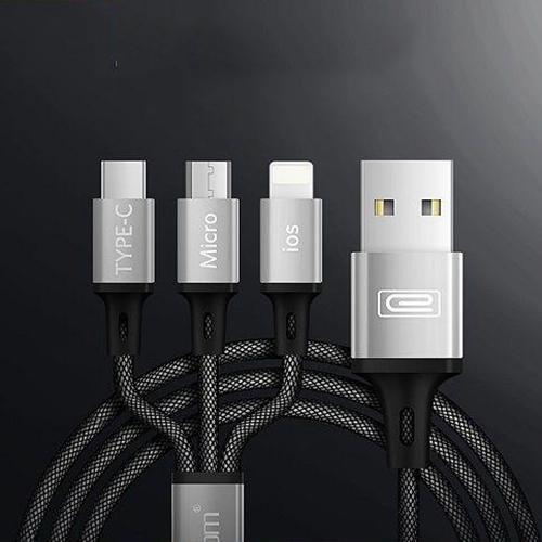 Cáp sạc bọc sợi Đa Năng 3 trong 1 (Micro USB - IOS/Lighning - Type C) Earldom IMC-017  - Hàng Chính Hãng