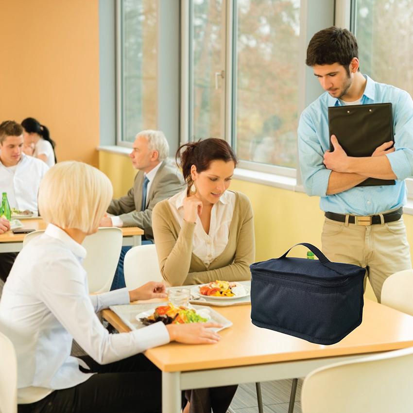 Túi Đựng Hộp Cơm Giữ Nhiệt Màu Đen Size Nhỏ Dạng Hộp Có Dây Khóa Kéo Dành Cho Dân Văn Phòng Tặng Túi Muỗng Nĩa (Lunch Bags, Box)