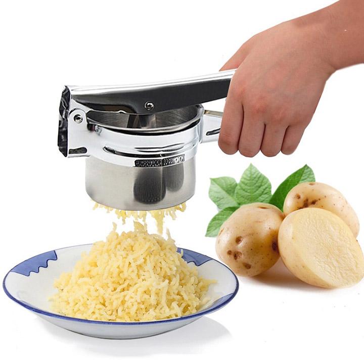 Dụng cụ Nghiền khoai tây, ép củ quả, làm bún mì 3 vỉ khuôn (Inox)
