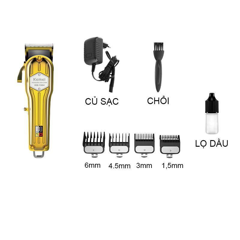 Tông đơ cắt tóc vỏ thép nguyên khối,màn hình hiển thị LCD kemei 1984 vàng,chuyên dùng fade tóc và cắt lược