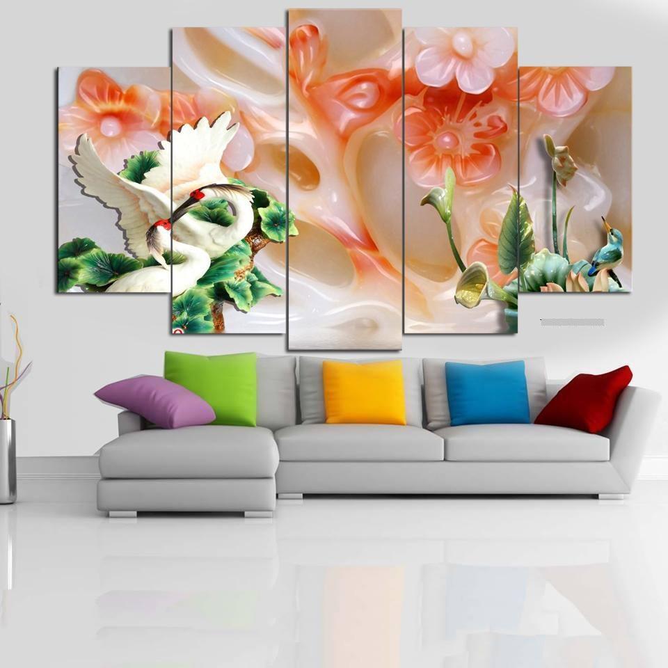 Bộ 5 tấm tranh treo tường Sếu Giả Ngọc T3M-15048   /Gỗ nhập khẩu Hàn Quốc-Bo viền,chống lóa,ẩm mốc,mối mọt