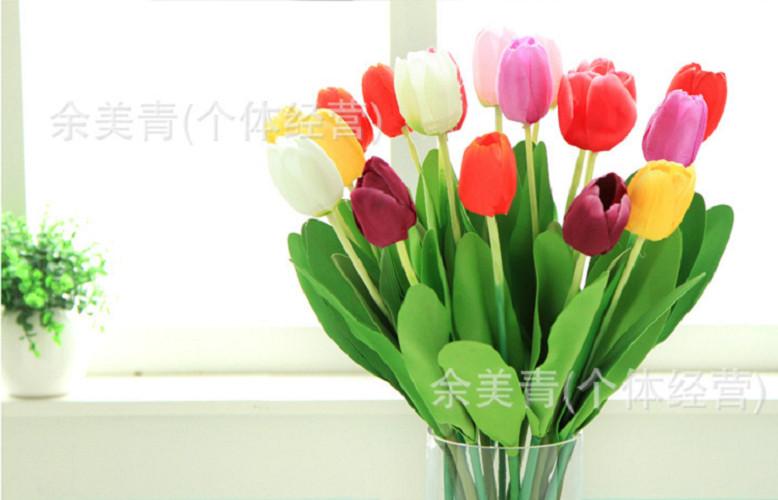 Hoa giả-Cành Hoa Tulip Đơn màu trắng