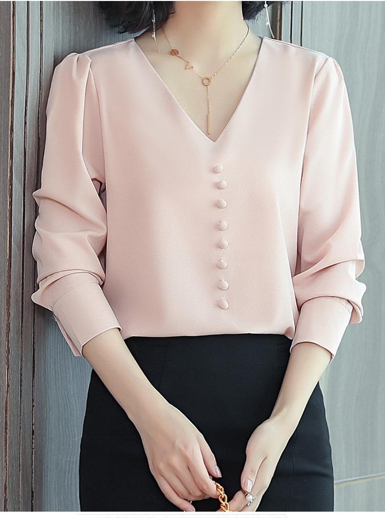 Áo Sơ Mi Nữ Kiểu Cổ Tim Ngực Đính Nút Bọc - mã SSL1229 - màu kem - M