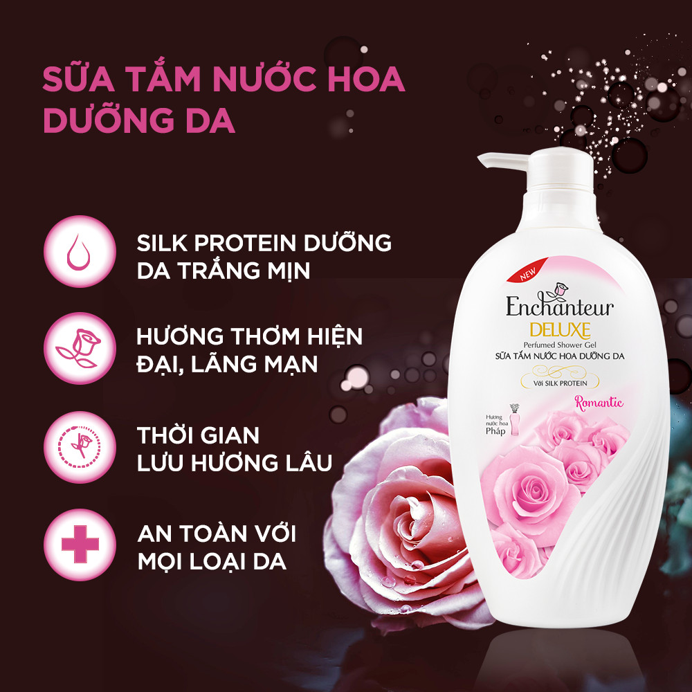 Sữa tắm nước hoa Enchanteur Romantic 650gr + Túi Sữa tắm 200gr SMP