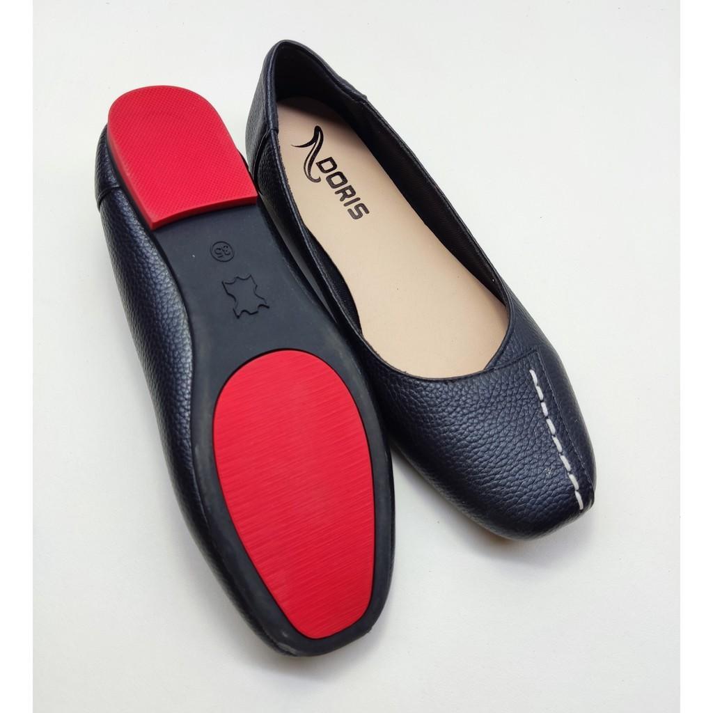 Giày búp bê đế bệt ️️ mũi vuông da thật  may chỉ DORIS DR009