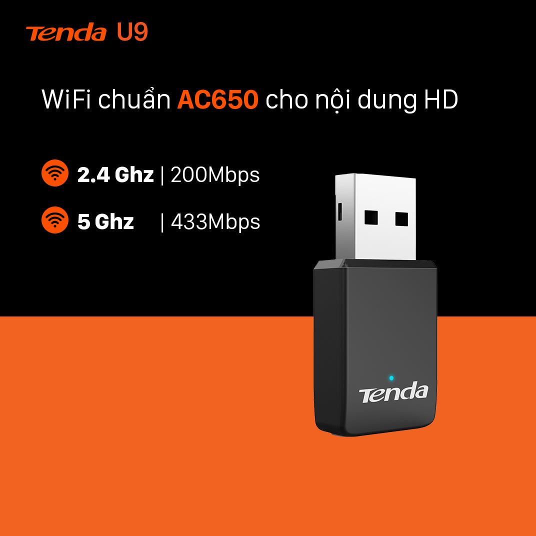 Tenda USB kết nối Wifi U9 chuẩn AC tốc độ 650Mbps - Hãng chính hãng