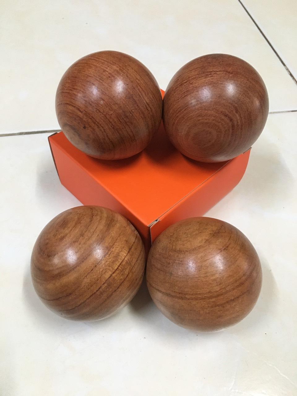 4 Viên bi lăn tay hạt gỗ Hương - 5 cm ( hình thật )