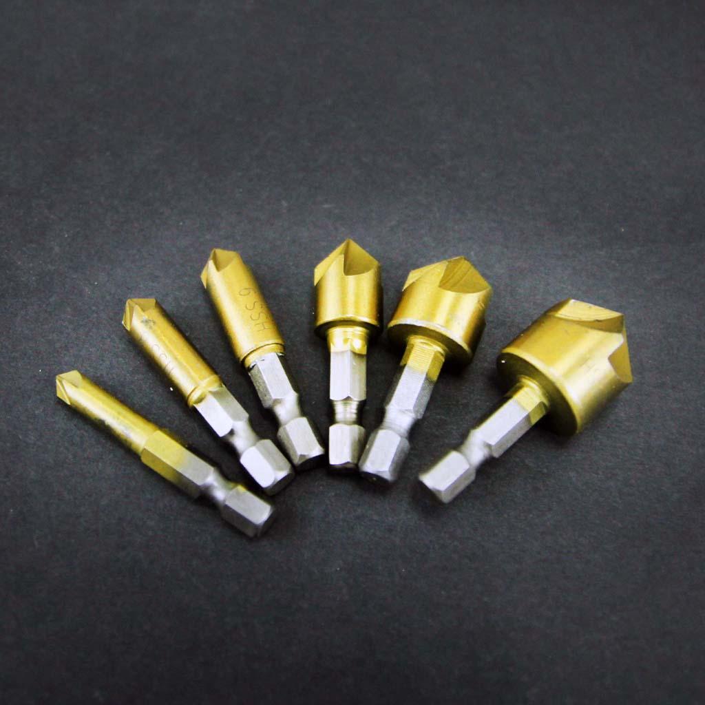 Bộ 6 mũi doa lỗ gỗ dạng 5 lưỡi phay chuôi lục thép carbon cao phủ Titanium
