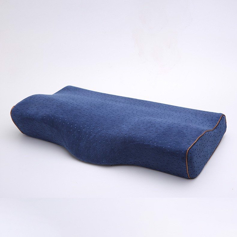 Gối Memory Latex Pillow-Caro Xanh Trắng-50cm*30cm-Gối Cao Su Non-Hàng Nội Địa Nhật Bản