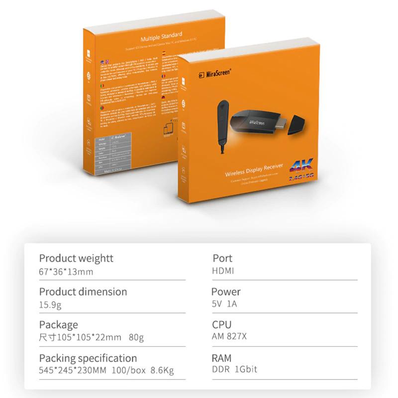 Thiết Bị HDMI Không Dây Kết Nối Điện Thoại Với TIVI FULL HD 4K  K6 AZONE