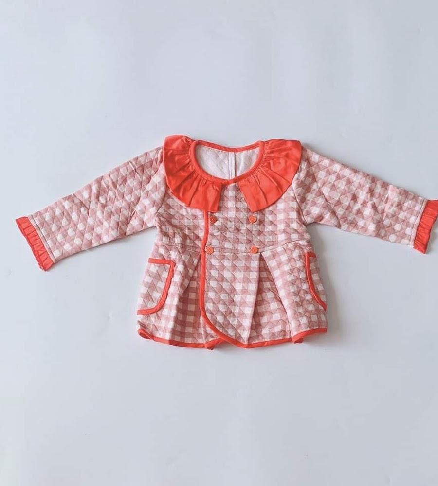 Áo khoác bé gái Caro đỏ chần bông nhẹ - AICDBGESOYCV - AIN Closet