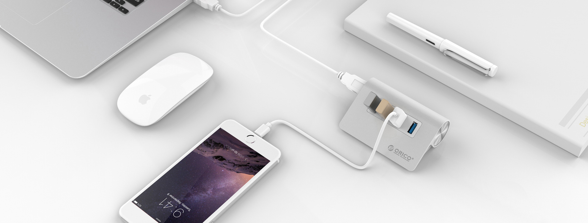 Bộ chia USB HUB 4 cổng USB 3.0 - Orico M3H4-V1 Màu Bạc - Hàng chính hãng