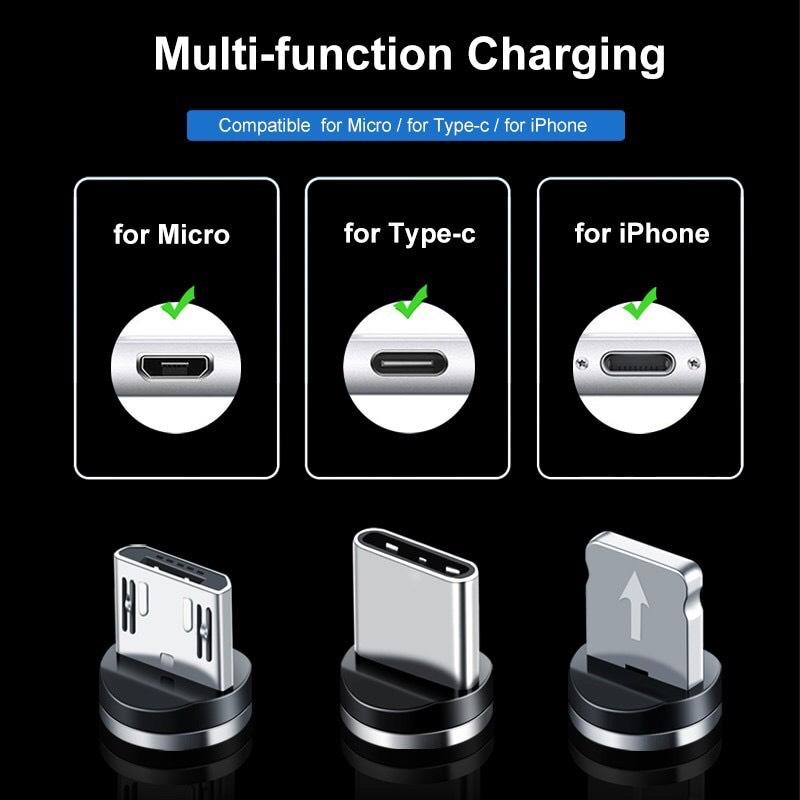 Cáp sạc từ hút nam châm đầu Micro usb, Type C và iPhone 360 độ dây dù có led