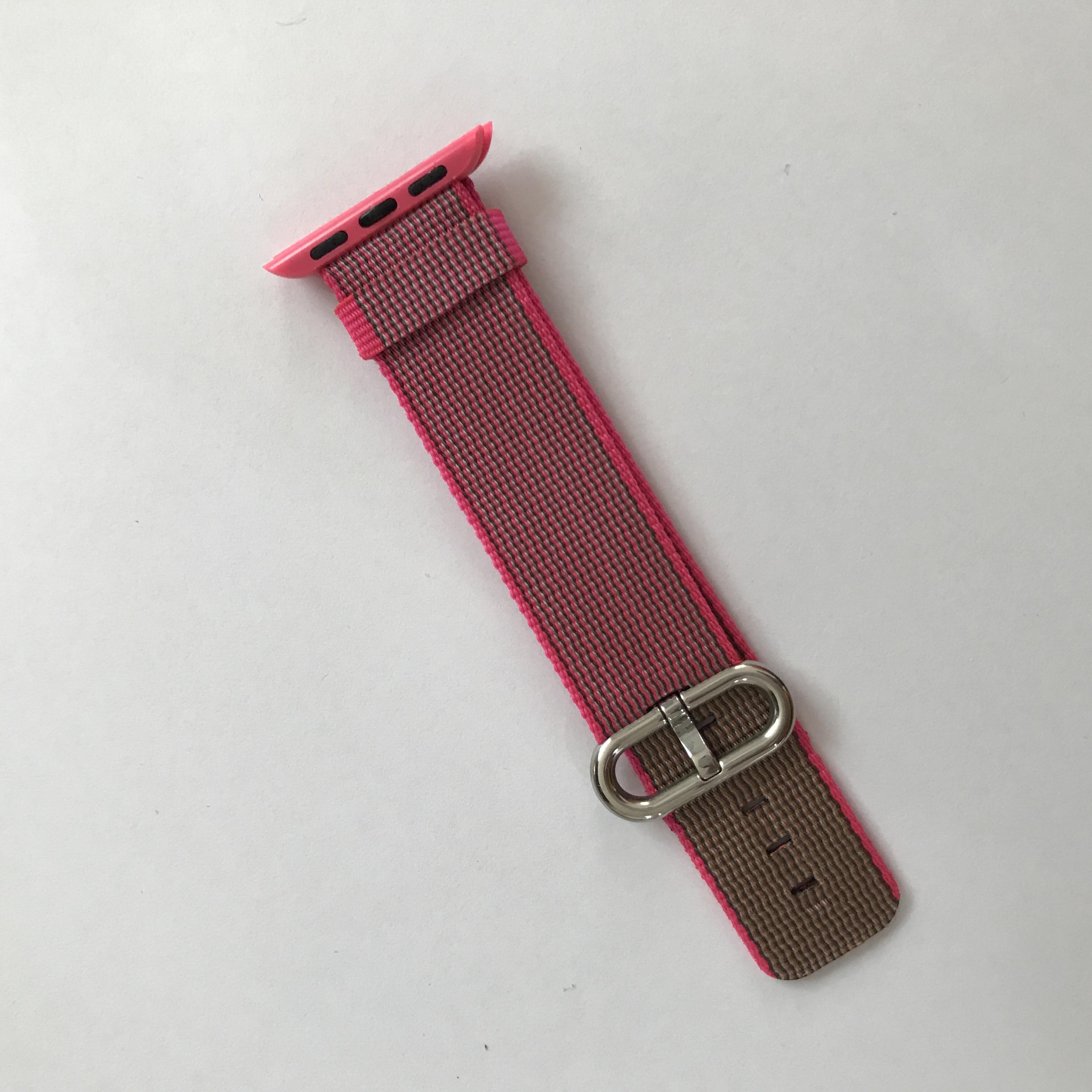 Dây đeo cho Apple Watch Woven Nylon kẻ hồng siêu bền - Series 1.2.3.4