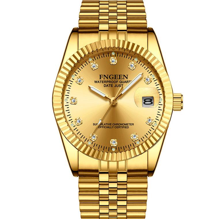 Đồng Hồ Nam FNGEEN FE708 mạ vàng mặt đồng hồ tròn, thiết kế đẹp mắt, sáng bóng với tính năng hiện đại cho phái mạnh tự tin, mạng mẽ và thời trang Dây thép không gỉ thiết kế ôm tay