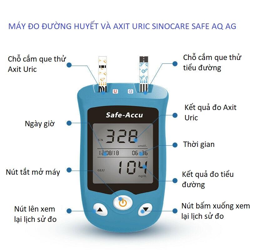 Máy đo đường huyết, Axit Uric 2 trong 1 Sinocare Safe AQ UG Tặng kèm 50 que thử đường huyết và 50 que thử Axit Uric