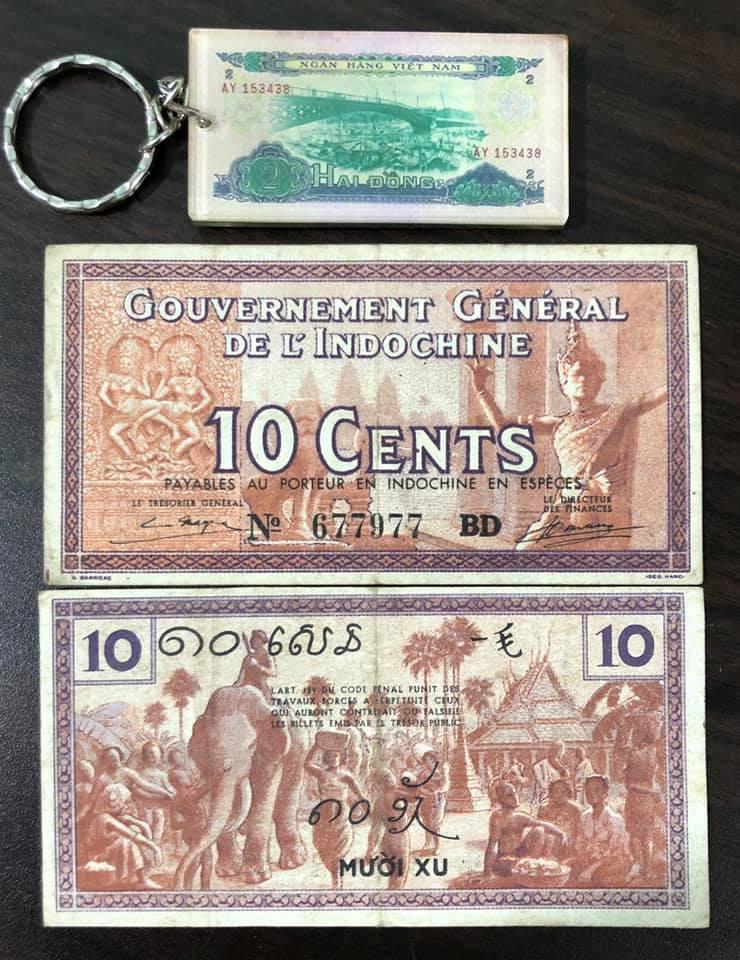 Tiền cổ Đông Dương, tờ 10 xu sưu tầm (kèm móc khóa hình tiền xưa)