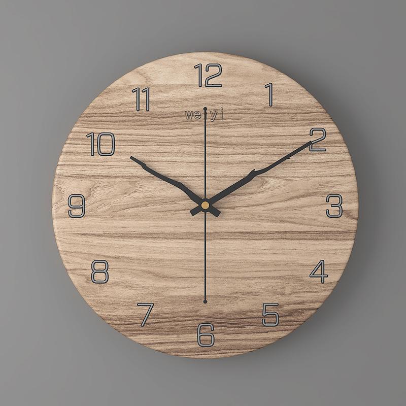 Đồng hồ treo tường tròn hoa văn vân gỗ 30cm