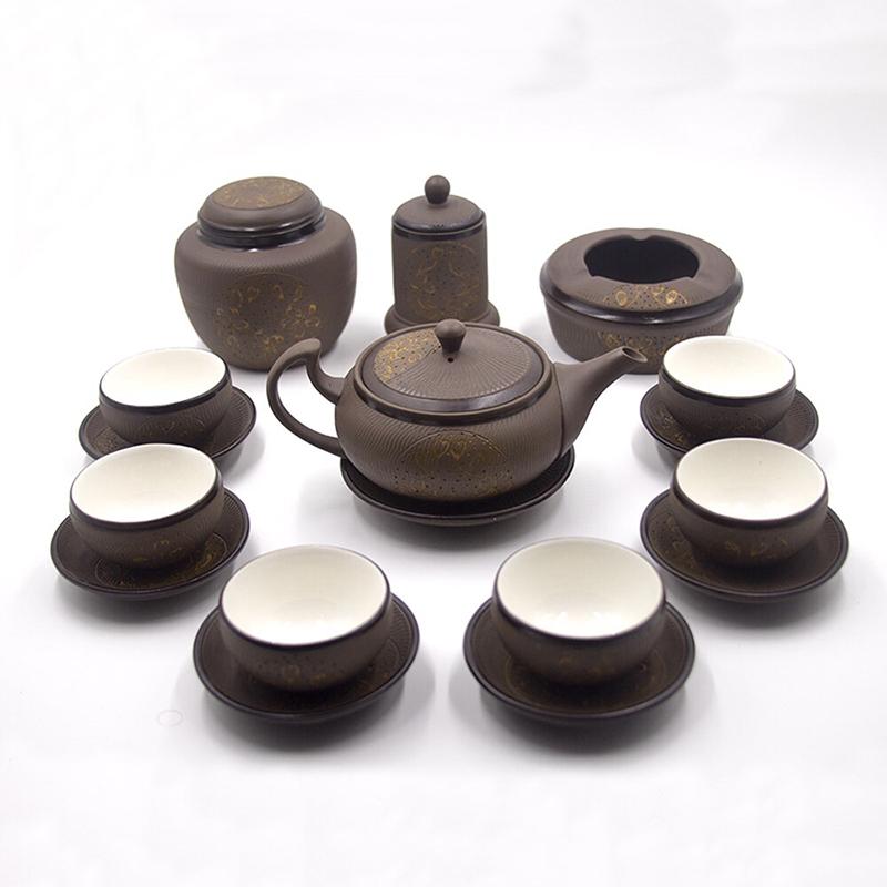 Bộ ấm trà gốm hồng sa khắc vẽ trăng vàng