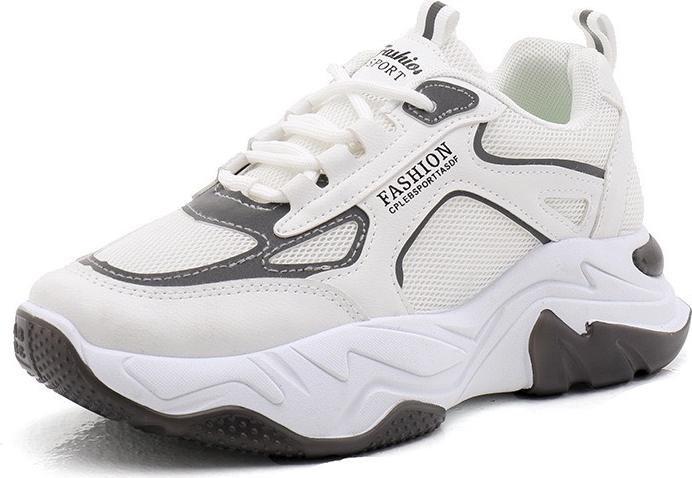 Giày nữ trắng tăng chiều cao fashion đế hơi nổi bật - 026