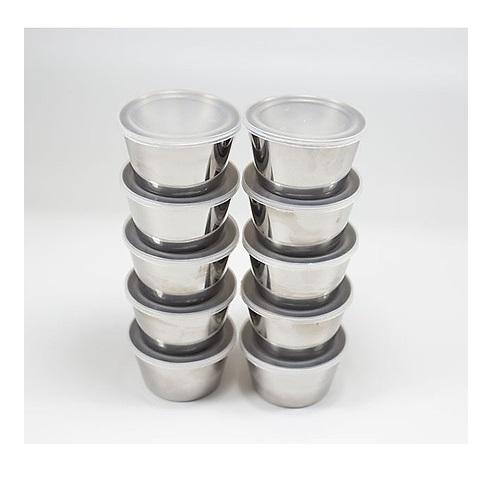 10 Khuôn Inox 304 Làm Bánh Flan Có Kèm Nắp Nhựa ( Size 7 x 5 x 4cm)