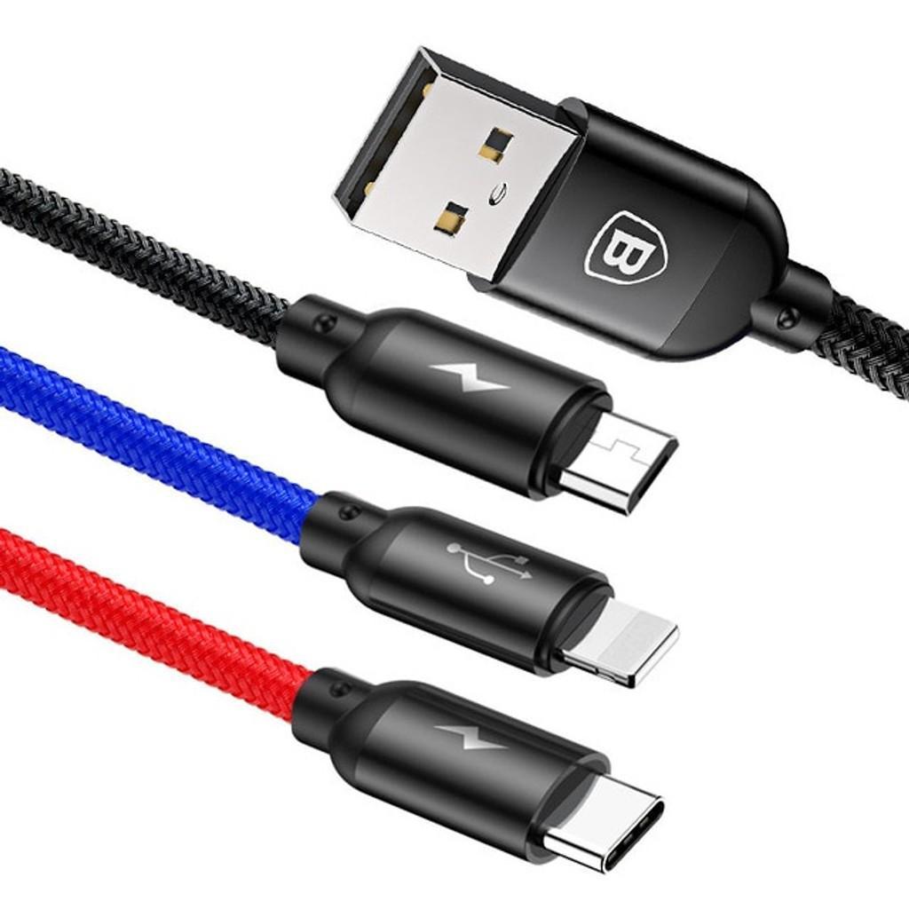 Cáp sạc nhanh Basues Three Primary Colors Basues - Cáp sạc 3 đầu tích hợp cổng TypeC, Micro, Lightning (3.5A max) - Hàng Chính Hãng