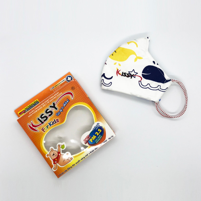 Khẩu trang Kissy cho bé từ 4 - 10 tuổi trắng cá voi