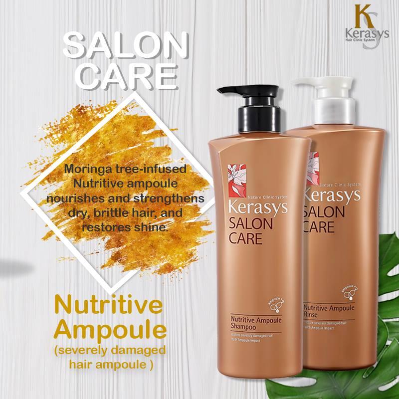 Dầu xả Kerasys Salon Care Nutritive - Dành cho tóc hư tổn Hàn Quốc 600ml tặng kèm móc khoá
