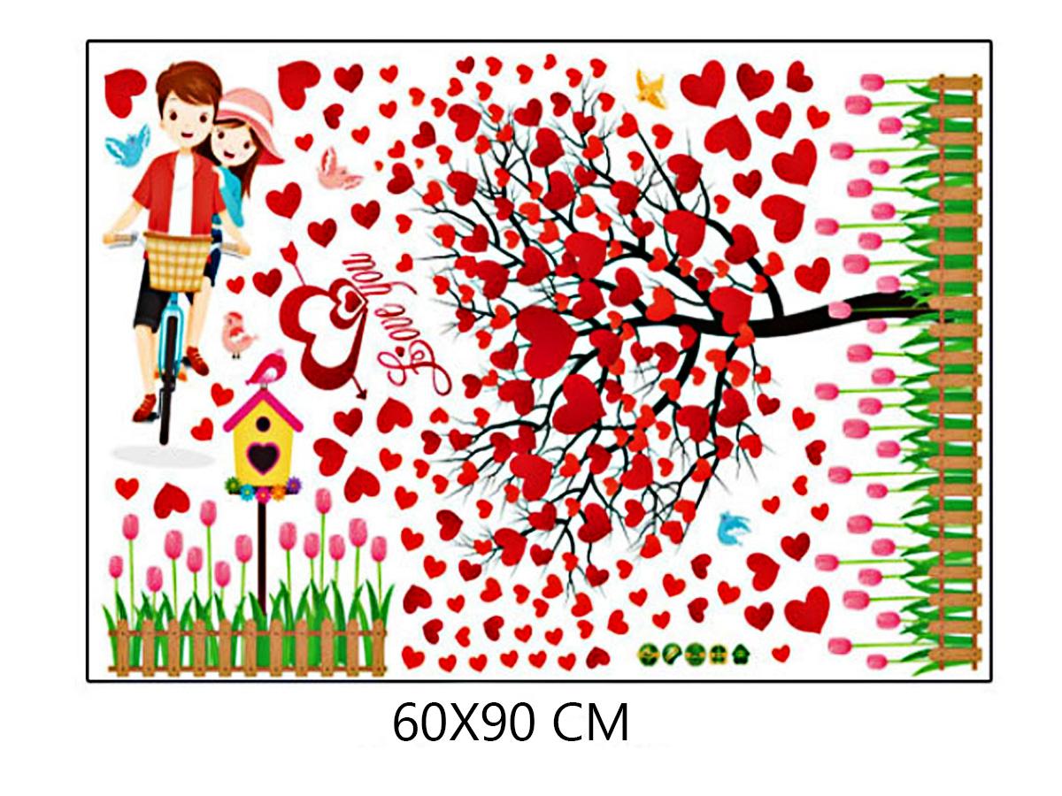 decal dán tường cây trái tim và đôi tình nhân đạp xe sk9207