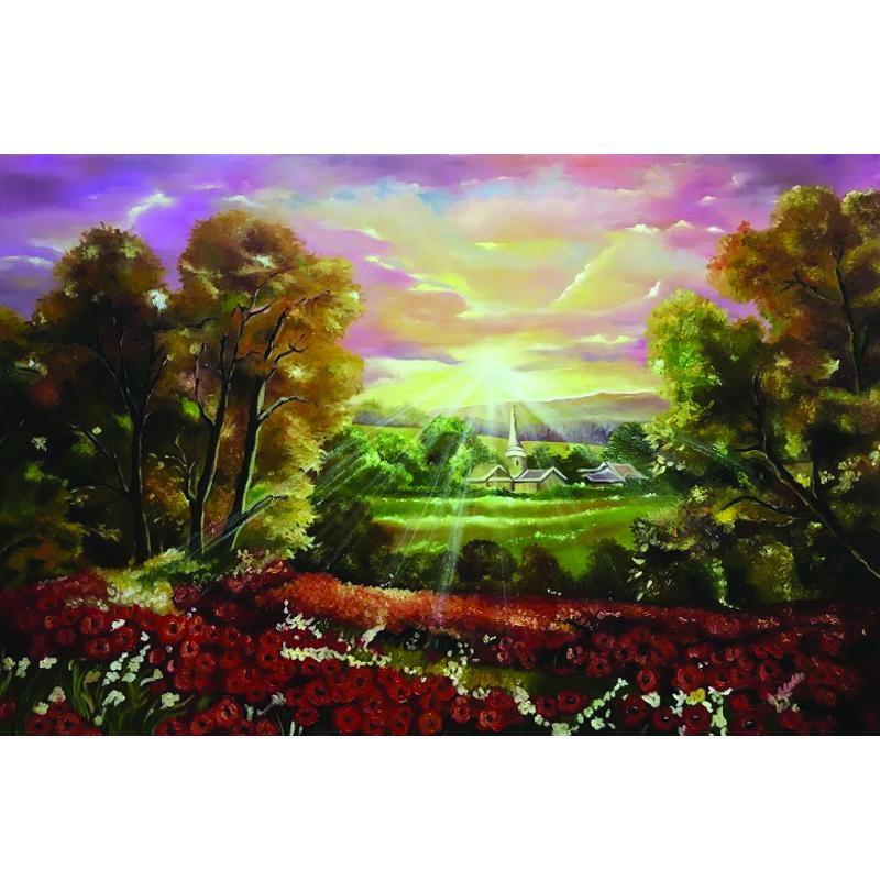 Tranh sơn dầu vẽ tay Bình minh OP034