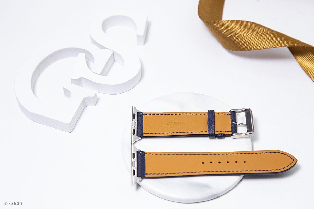 Dây Da Cao Cấp Dành Cho Apple Watch 44mm 42mm, Chất Liệu Da Bê EPSOM Nhập Khẩu Từ Pháp, Kiểu Dáng Hiện Đại và Sang Trọng, Tương Thích Các Phiên Bản Series 6/5/4/3/2/1/SE - Hàng Chính Hãng SAIGIO