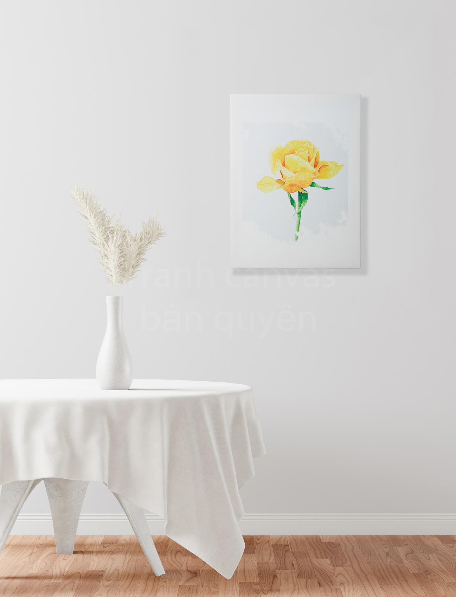 Tranh Canvas Hoa Hồng Vàng treo tường chất lượng cao với hình ảnh bản quyền độc đáo