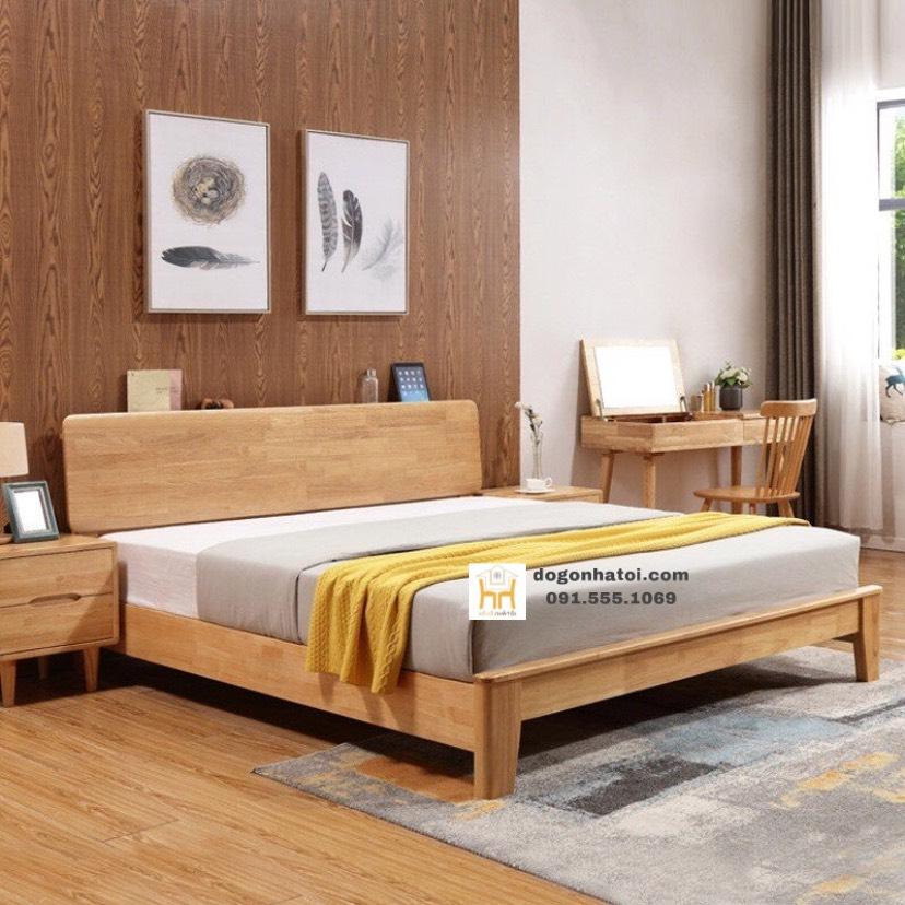 Giường ngủ đôi Harmony gỗ sồi Mỹ - màu vân gỗ sồi tự nhiên 100%
