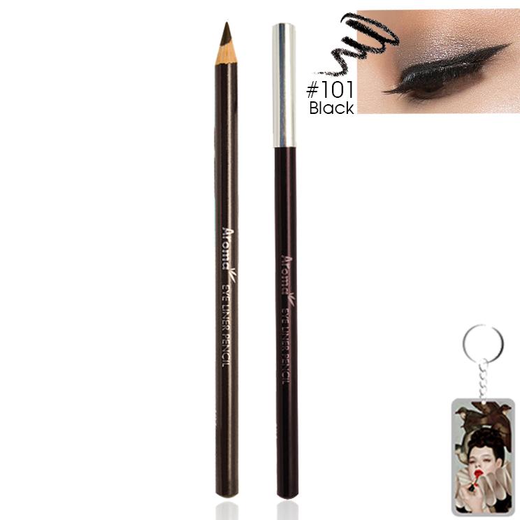 Chì vẽ mí mắt Aroma Eyeliner Pencil Hàn Quốc No.101 Black tặng kèm móc khoá