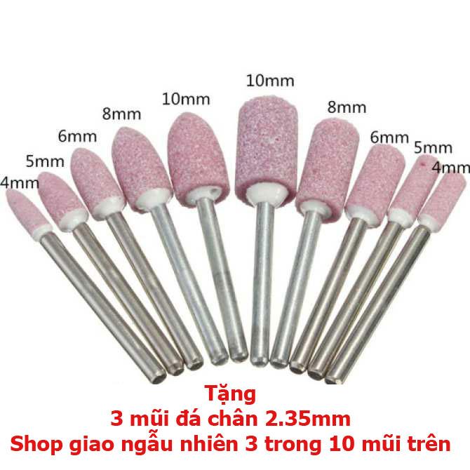 Bộ 30 mũi mài dũa phủ kim cương chân 2.35mm dùng cho máy mài khắc mini hay máy mài móng tay tặng kèm 3 mũi đá chân 2.35mm