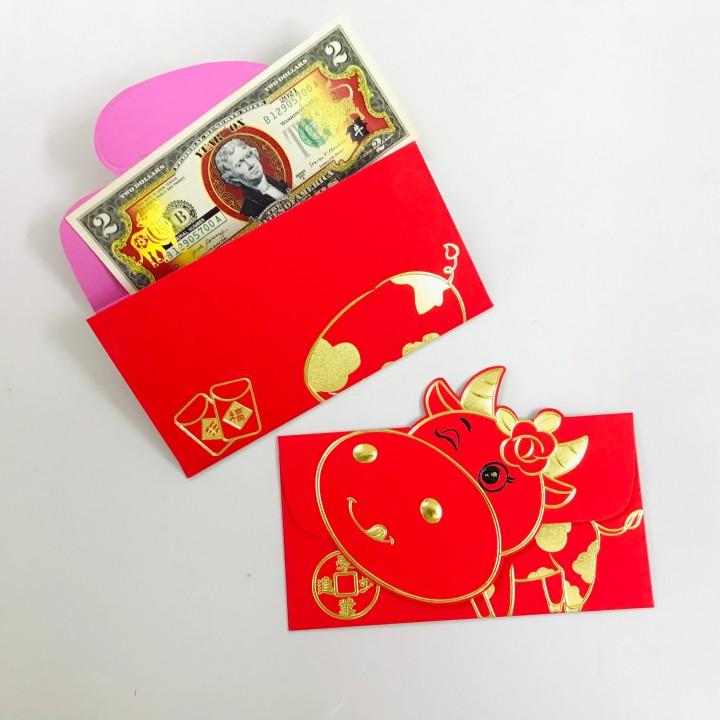 Set 3 bao lì xì con trâu 3D cute nhũ vàng (Mẫu 2), dùng để đựng thiệp chúc, tiền lì xì, mừng tuổi dễ thương và ý nghĩa - TMT Collection - SP005142