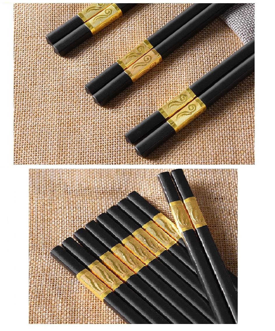 Hộp 10 đôi đũa mạ vàng sang trọng, quý phái, dài 27cm - Hàng nhập khẩu