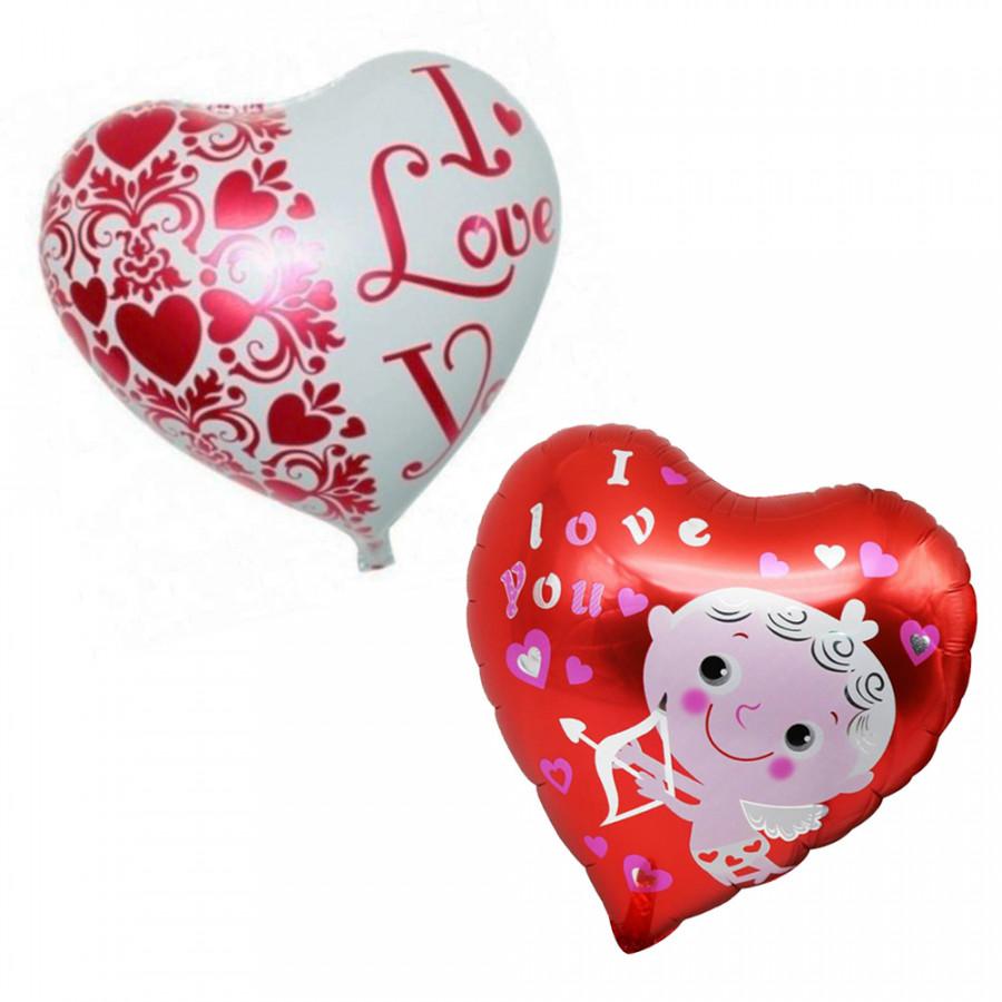Combo 2 bong bóng trang trí hình trái tim I love You