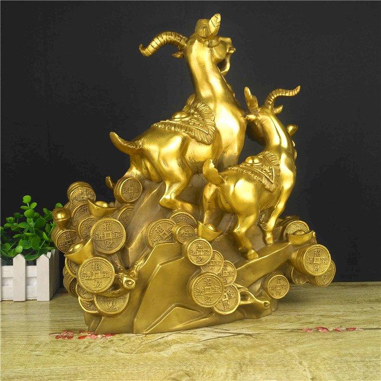 Tam Dương 3 con dê tam thế Tam dương Khai Thái bằng đồng thau cỡ đại