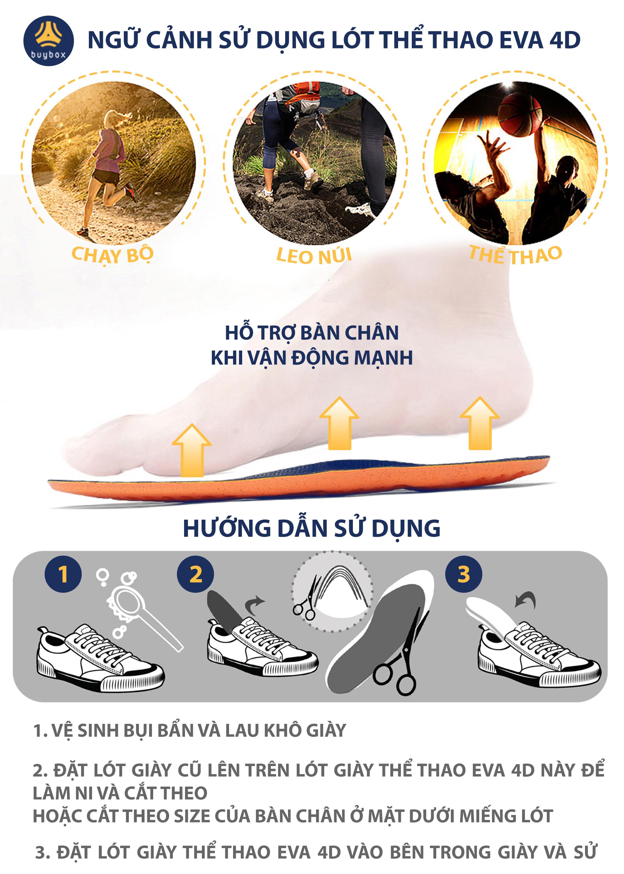 Lót giày thể thao EVA có 6 đệm chống sốc êm chân và rãnh chịu lực - buybox - BBPK154