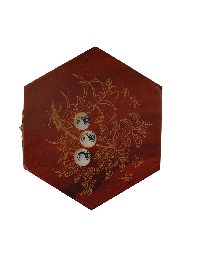 Hộp đựng chè gỗ hương khảm trai hình đa giác