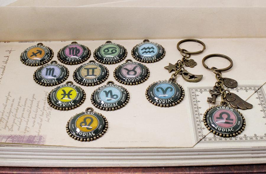 Móc khóa 12 cung hoàng đạo Zodiac phong cách Vintage 06646-M2