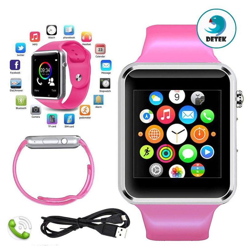 Đồng hồ thông minh nghe gọi A1 màu hồng + sim dùng cho đồng hồ